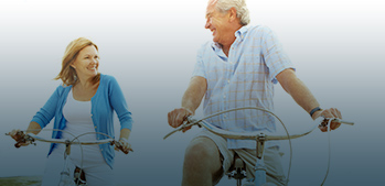 Biking old couple