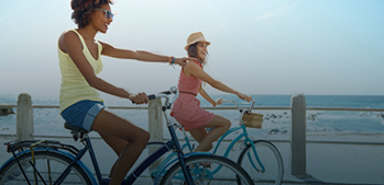 Biking two woman