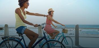 Biking two woman